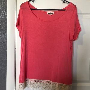 Hippie Rose Tops - Pink/Coral top with crochet detail