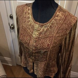 Vintage Tops - Fabulous BOHO sheer sleeve top