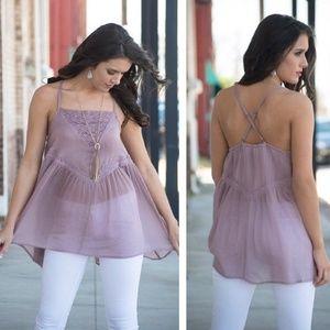 Tops - Crochet Lace Cross Back Tunic