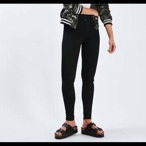 Topshop PETITE Denim - Topshop PETITE MOTO Black Joni Jeans