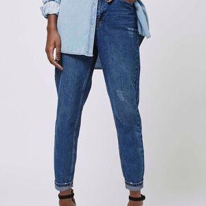 Topshop PETITE Denim - Topshop PETITE Dark Blue Mom Jeans