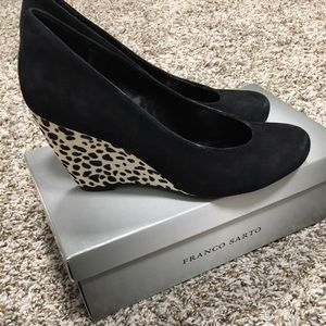 Franco Sarto Shoes - Franco Sarto Animal Print Black Suede Wedges