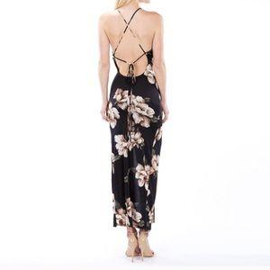 Auditions Dresses & Skirts - Black Floral Print U-back Slit Maxi