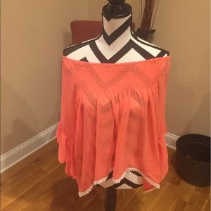 Threadzwear Tops - Coral off the shoulder Top 1s/m 2M/L bell sleeves