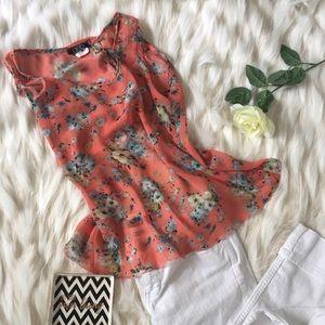 Deb Tops - Sheer orange floral open back blouse