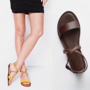 Garnet Hill Shoes - 🌸NEW ARRIVAL Brown Leather Strap Sandals Minimal