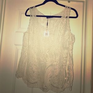 Choies Tops - Choies cream/ivory sheer lace tank top size 4 BNWT
