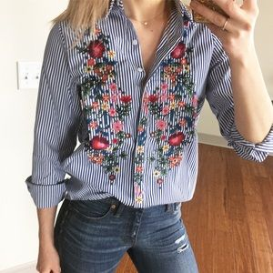 EMBROIDERED Blue Stripe Button Down