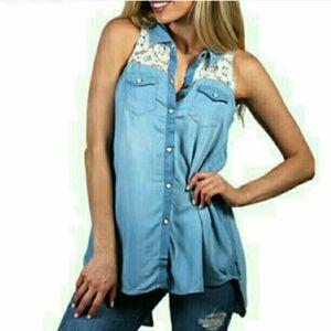 Shyanne Tops - Chic silky denim slit back sleeveless crochet top