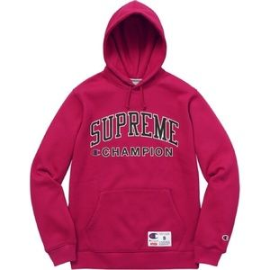 New authentic SUPREME X CHAMPION MAGENTA HOODIE.
