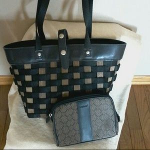 Longaberger basket purse and cosmetic bag