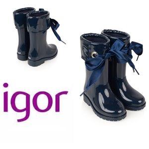 Igor Other - Igor, toddler, ribbon navy rainboots, nwob, 25