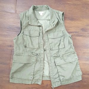 Final! J.Crew forest green utility cargo vest