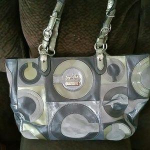 Coach gray leather handbag