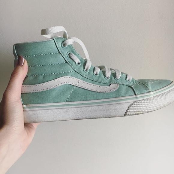 mint green high top vans
