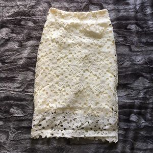 chicwish Dresses & Skirts - Gorgeous Ivory Crochet Pencil Skirt