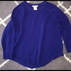Sweet Romeo Tops - Sweet Romeo Blue Half Sleeve Sweater Top