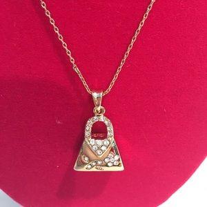 Jewelry - Swarovski Crystal &Goldtone Handbag Necklace NWT