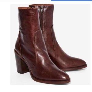 Crosswalk dark mahogany brown wooden heel booties