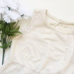 Tulle Dresses & Skirts - Tulle Eyelet Lace Cream Stretch Keyhole Dress