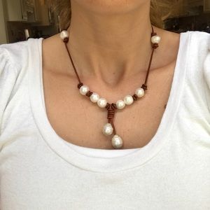 Genuine freshwater pearl and leather cord necklace
