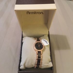 Armitron Jewelry - Armitron Brown/Gold Crystal Ceramic Watch