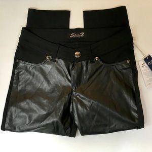 Seven7 Pants - SEVEN7 FAUX LEATHER FRONT PANTS