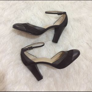 bp Shoes - BP Melody Brown Leather & Suede ankle Strap Heels