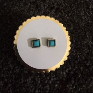 Jewelry - Gold and turquoise square earrings posts studs