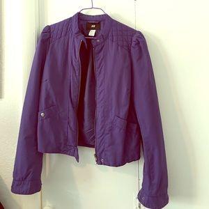 H & M indigo bomber style jacket
