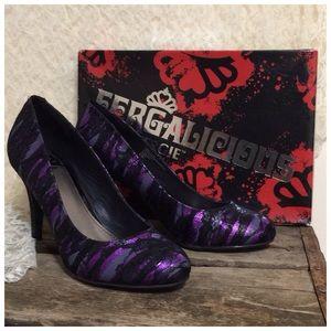 The Fergie PurPLe UTOPIA BLack LaCe Heel 8.5M NEW