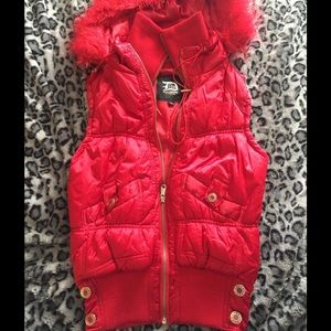 Dollhouse Jackets & Blazers - Dollhouse red polyester vest with faux fur trim!