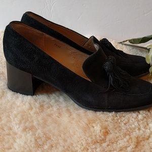 Vaneli Shoes - Vintage Van Eli black tassel suede heel loafer