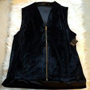 Tahari Jackets & Blazers - TAHARI Melinda Knit Velour Zip Front HiLo Vest
