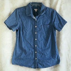 J. Crew Factory Tops - J Crew Factory Chambray Short Sleeve Shirt Small