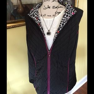 Ruby Rd. Jackets & Blazers - Pink Black And White Puffer Vest