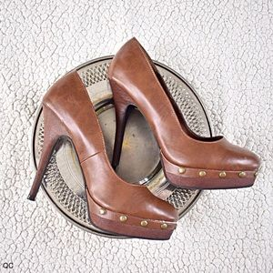 Call It Spring Shoes - BROWN LEATHER HIGH HEELS w STUDS