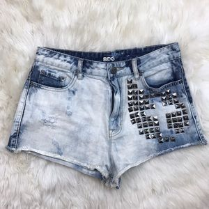 BDG Acid Wash High Rise Studded Denim Shorts
