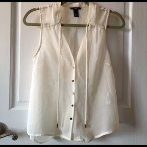 H&M Tops - H&M sheer ivory button down with gold buttons