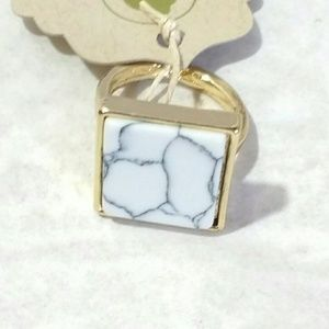 Bondhu Jewelry - Howlite & 18K Gold Plated Square Ring