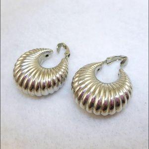 Jewelry - Puffy Vintage Silver Tone Hoop Clip Earrings