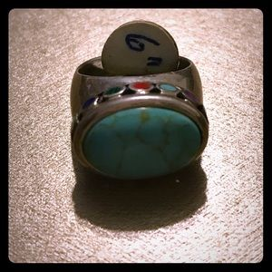 Jewelry - Brand New  Turquoise Ring size 6 antique sterling