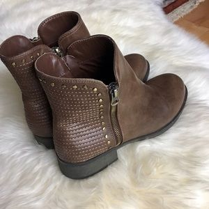 Fergalicious Shoes - Fergalicious Embody Studded Zipper Ankle Bootie