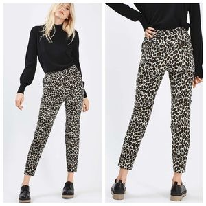 Topshop Pants - Topshop Animal Jaquard Print Cigarette Pants