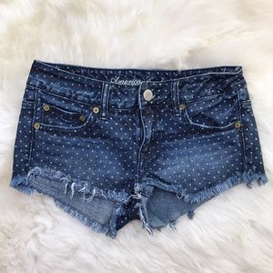 American Eagle Polka Dot Frayed Denim Shorts