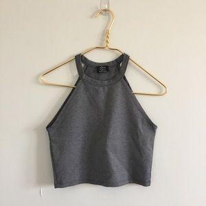 Zara crop top, high neck detail, grey color