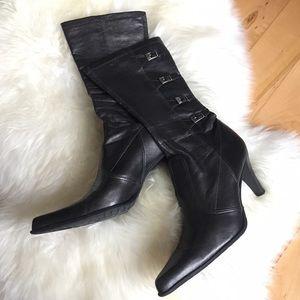 Franco Sarto Shoes - Franco Sarto Metallic Gunmetal Gray Sock Boot Sz 8