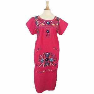 Vida Magika Dresses & Skirts - Festival Pink Embroidered Boho Dress