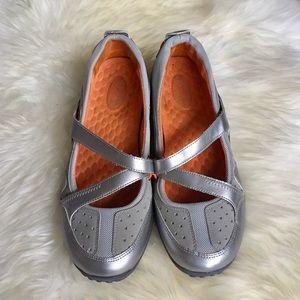 Clarks Shoes - Clarks Privo Aria Maryjane Gray Orange Sneaker
