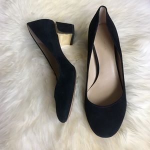 Ann Taylor Shoes - Ann Taylor Black Suede Pumps with Gold Heel Detail